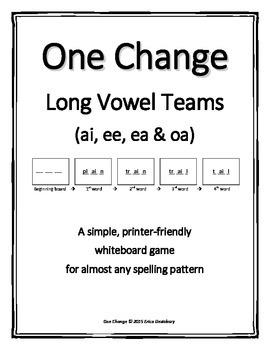 """Long Vowel Teams (ao, ai, ee, ea)- """"One Change"""" Whiteboard"""