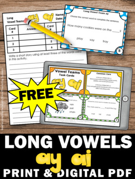 FREE ai and ay Activities, Long Vowel Task Cards
