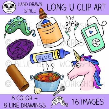 Long U Clip Art - 16 Pieces