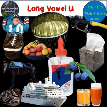 Long Vowel U Clip Art Phonics Set Photo & Artistic Digital Stickers