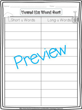Long U - A Week of Lesson Plans, Word Work,  and Activities!