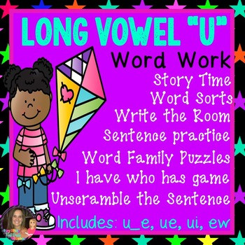 "Long Vowel ""U"" Word Work Packet (including: ue, u_e, ui, ew)"