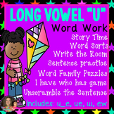 "Long Vowel ""U"" Word Work Packet (including: ue, u_e, ui, ew)"