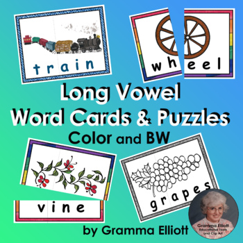 Long Vowel Puzzles or Word Wall Cards in Color and BW