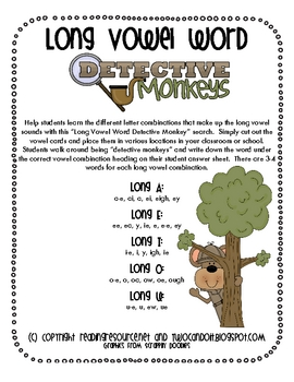 Long Vowel Word Detective Monkeys (Long O)