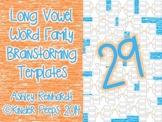 Long Vowel Word Families Brainstorming Templates Bundle