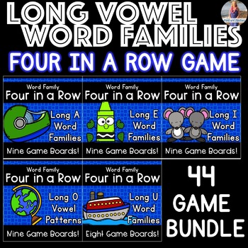 Long Vowel Word Families Games: Four in a Row BUNDLE!!
