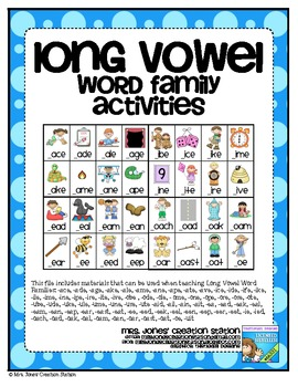 Long Vowel Word Family Activities