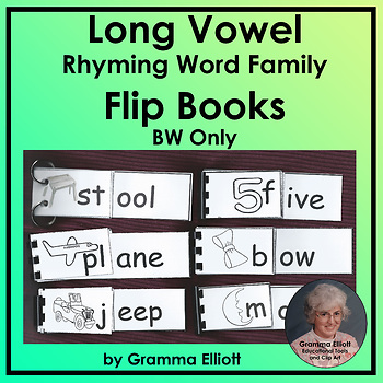 Long Vowel Word Family Flip Books in BW Only