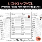 Long Vowel Word Family Homework or Classwork Practice Worksheets