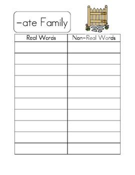 Long Vowel Word Family Literacy Center