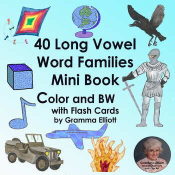 Long Vowel Word Family Mini Book - Color and Black Line