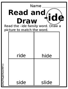 Long Vowel Word Family Read and Draw Bundle
