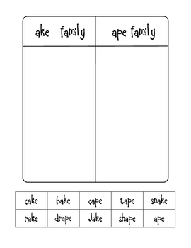 Long Vowel Word Family Sorts