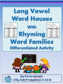 Long Vowel Word Houses with Rhyming Word Families Differentiated Activity