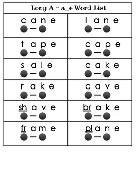 Long Vowel Word Lists for Decoding