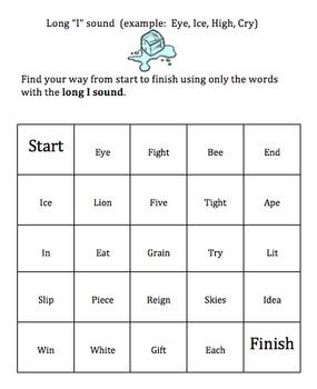 Long Vowel Word Maze