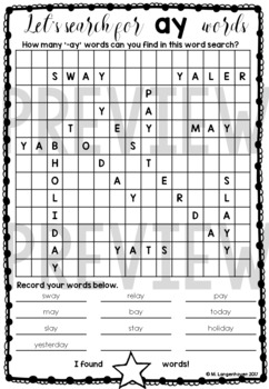 Long Vowel Word Searches