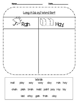 Long Vowel Word Sort Phonics Packet