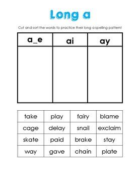 Long Vowel Word Sort Bundle