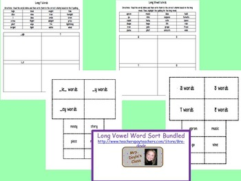 Long Vowel Word Sort Bundled