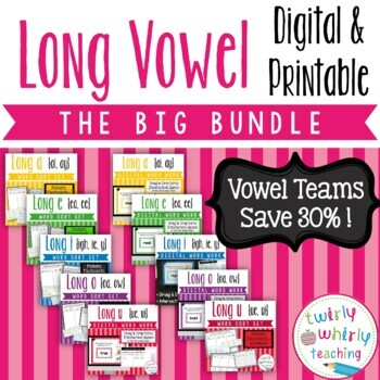 Long Vowel Word Sort Sets Vowel Teams BIG Bundle