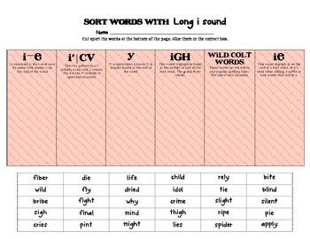 Long Vowel Word Sort - cut and paste