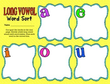 Long Vowel Word Sort - cut and paste