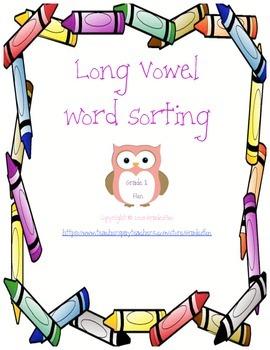 Long Vowel Word Sorting