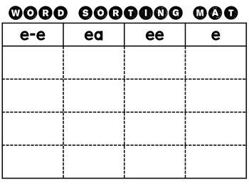 Long Vowel Word Sorting Packet
