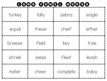 Long Vowel Word Sorting Packet