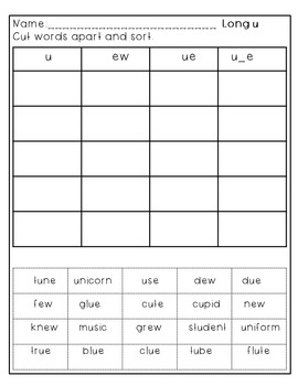 Phonics Word Sort by long vowel sound for 1st and 2nd grade