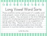 Long Vowel Word Sorts | Orton-Gillingham Spelling List