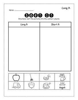 Long Vowel Word Work Pack