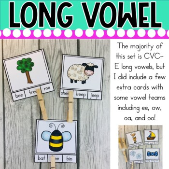 Long Vowel Words Clip It Cards! Literacy Center Activity (32 Cards)