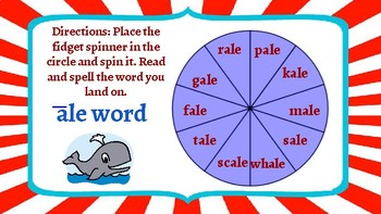 Word Work-Long Vowel Words Ending in E Fidget Spinner Game Boards