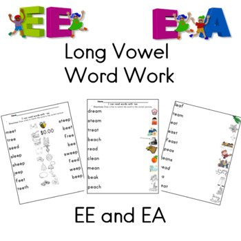 Long Vowel Word Work for EE and EA