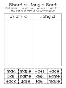 Long Vowel Work Word with Silent e