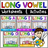 Long Vowel Worksheets Bundle (Long a, e, i, o, u) - NO PREP literacy centers!