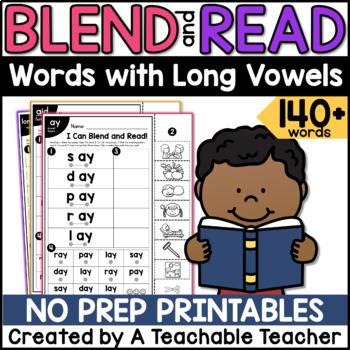 Long Vowel Worksheets | Blending & Reading Words with Long Vowel Teams