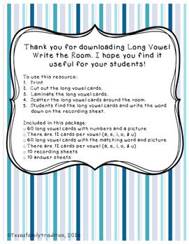 Long Vowel Write the Room Bundle