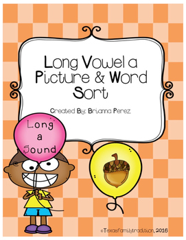 Long Vowel a Picture & Word Sort