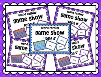 Long Vowel a e i o u Word Family Game Show BUNDLE for PowerPoint