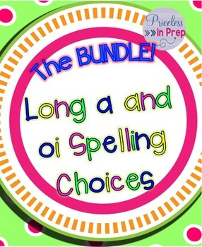 Long Vowel ai oi Spelling Choices Picture Sorts and Write The Room Bundle