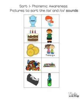 Long Vowel ai oi Spelling Choices Picture Sorts and Write The Room Bundle #BTS18