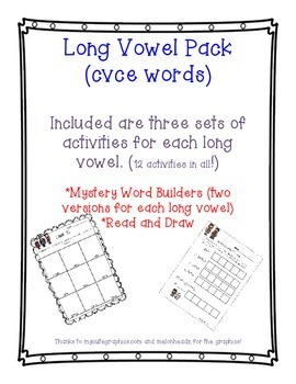 Long Vowel (cvce) Pack
