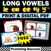 FREE Long e Vowel Team Activities, Long Vowel Task Cards
