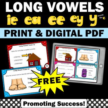 FREE Long Vowel Activities, ie, y sounds like e, ea, ey, ee Vowel Teams