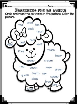 Long Vowel e Pair ea and ee - Word Work!