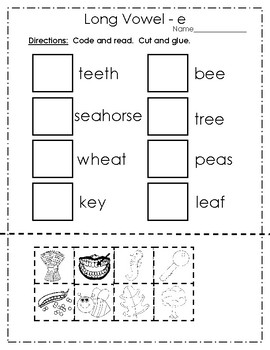 Vowels - Long Vowel e packet